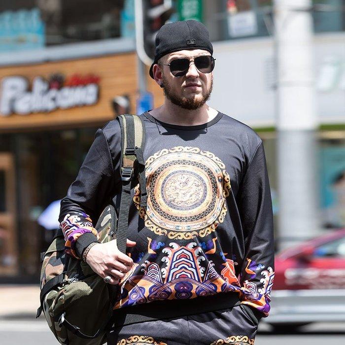 『胖哥大尺碼專賣店』兩件套中國風復古印花衛衣套裝男龍袍官服大碼男裝潮個性創意秋裝