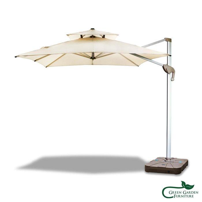 250方形羅馬傘(雙頂/米黃)【大綠地家具】遮陽傘/陽傘/庭園傘/可收合/任意角度遮陽(不含傘座)