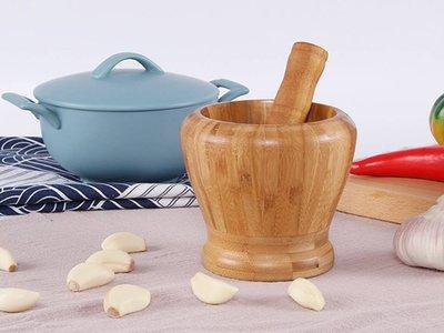 家用竹質蒜泥器蒜臼蒜泥研磨器搗藥罐剝蒜器研缽