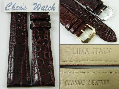 錶帶家『嚴選』義大利牛皮錶帶Armani 款小圓鱷魚紋亮面深咖啡酒紅色 18mm 16mm 14mm 12mm