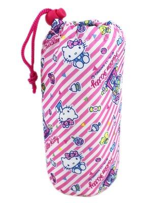 【卡漫迷】 Hello Kitty 水壺 保溫袋 條紋甜點 ㊣版  保溫 保冷 杯袋 隨手杯袋 水杯袋 凱蒂貓 三麗鷗