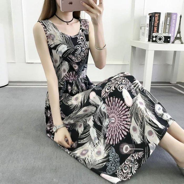 半島鐵盒 無袖洋裝  2抽繩顯瘦無袖印花棉綢連身裙人棉背心裙長裙子