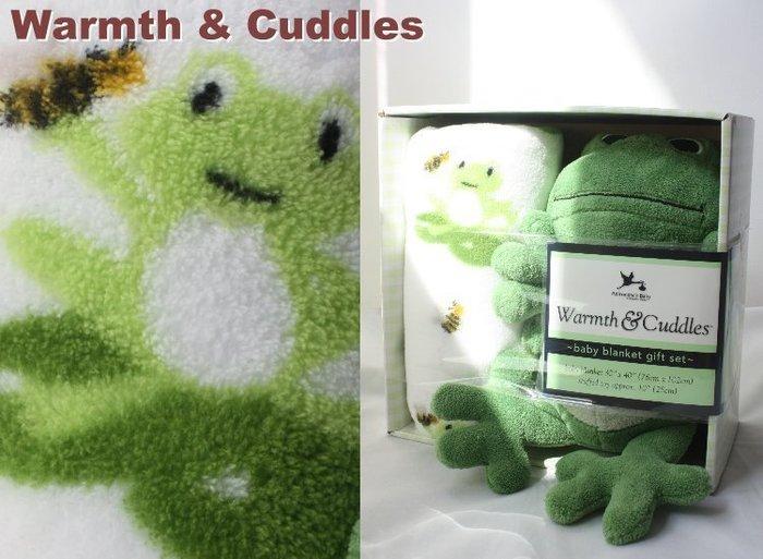 【Warmth & Cuddles】100% 全新正品 綠青蛙+ 柔舒毯 嬰兒被 禮盒 彌月禮 【0~3歲】*美國寄出*