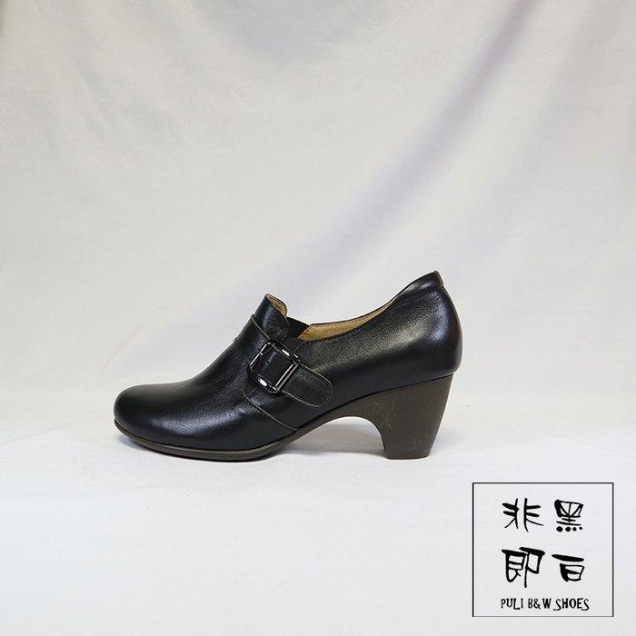 【非黑即白】#零碼# 出清#冬季女靴粗跟真皮踝靴 側邊調整 219210