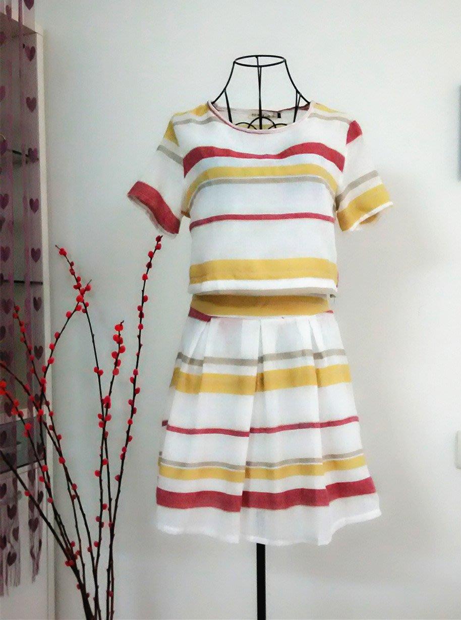【B807】DiuDiu【滿額折+折扣碼】實拍新款&時尚韓味棉麻撞色短袖+質地柔軟棉麻短裙 套裝