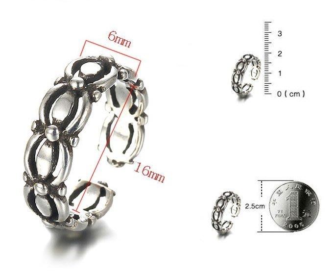 日韓時尚古銀泰銀氣質鐵鏈開口戒指情人節禮物生日禮物