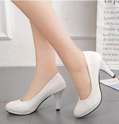 【蘑菇小隊】高跟鞋正裝禮儀職業鞋高跟鞋黑色女鞋鞋子單鞋中跟小皮鞋工作鞋-MG87916