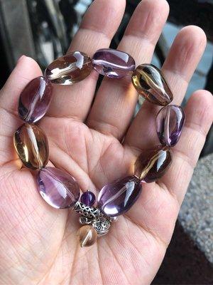 Crystal~ P07 超清透的天然紫水晶+黃水晶設計手珠,只給第一標~