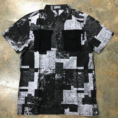 OVKLAB滿版印刷拼布口袋短袖襯衫 overkill shirts
