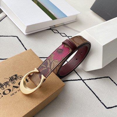 【八妹精品】COACH 84668 新款女士經典C扣 花朵印花皮帶 腰帶 時尚百搭女式皮帶