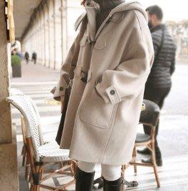 韓國 牛角釦連帽外套 毛呢外套 寬鬆挺版