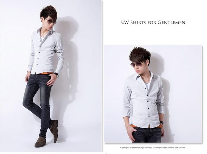 。SW。【K61152】下殺490 韓 雅痞時裝 修身 挺實 不易皺!! 白底極細灰 粉 藍線條紋 窄版 長袖襯衫