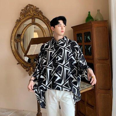 襯衫 韓版 夏季復古幾何圖案寬松七分袖襯衫男士發型師個性潮牌中長款襯衣男
