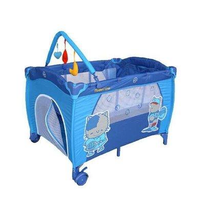 貝比的家-Mother s Love雙層遊戲床(側邊拉鍊活動門、附玩具架、蚊帳、圖案隨機)-深藍色-特價1590