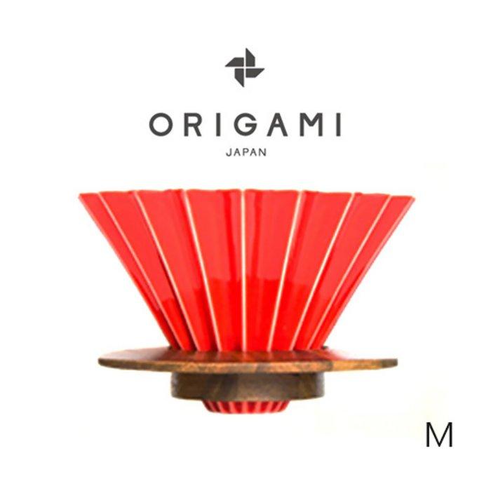 日本 ORIGAMI 摺紙咖啡陶瓷濾杯組M(含木質杯座)第二代 (11色)