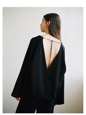 IM 高質量梭織設計歐美性感交叉大露背翻領時裝襯衫