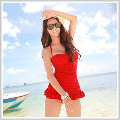 韓國可愛不外露小肚繞頸連身泳衣+荷葉裙泳衣【O854】☆雙兒網☆