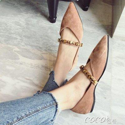 絨面單鞋 韓版時尚鉚釘復古絲絨尖頭平底女鞋子百搭淺口單鞋潮