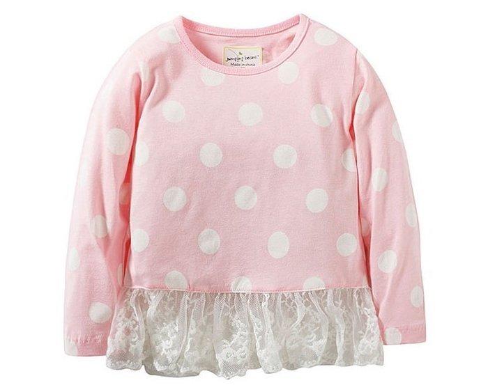 ☆草莓花園☆BM-2445 粉色圓點蕾絲 歐美風兒童長袖衣服 純棉童T 女童  童T恤