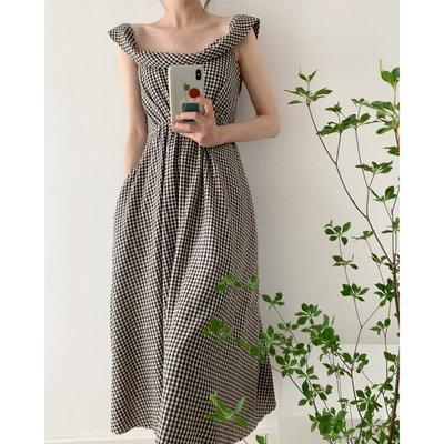 I.Season 優雅小姐 - 設計立體領咖啡格紋連身裙洋裝