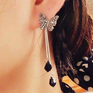韓款 蝴蝶水鑽流蘇長耳環 黑水晶造型 氣質淑女風格 耳環 N931