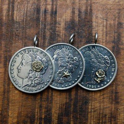 牛仔偵探 17世紀古董現貨North Works 一美元銀幣女王頭像點金花瓣玫瑰