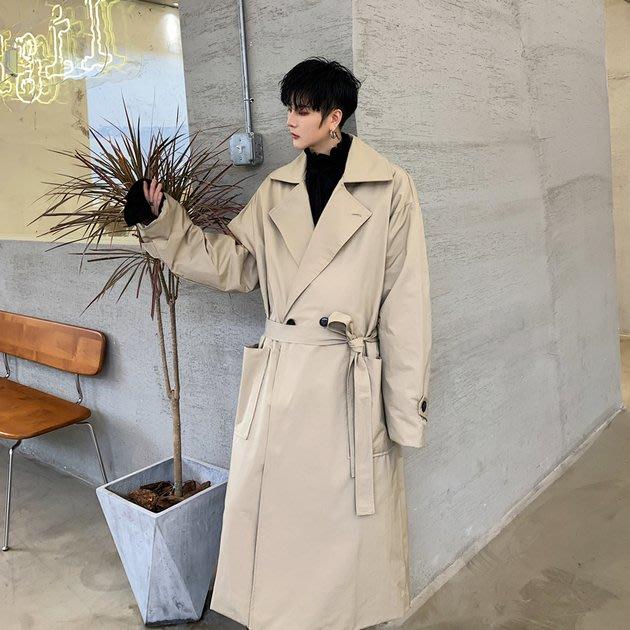 FINDSENSE 2019 秋冬上新 G19  復古流行大翻領中長款風衣外套長大衣男裝百搭寬鬆休閒外套
