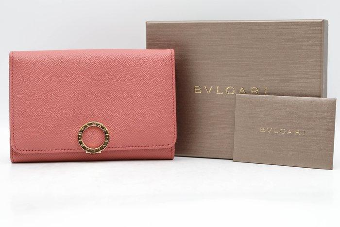 【青蘋果3C】BVLGARI 寶格麗 牛皮粉色中夾錢包 手拿包 285289 #43487