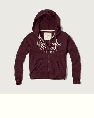 Maple麋鹿小舖 Abercrombie&Fitch * AF 棗紅色電繡字母連帽外套*( 現貨S號 )