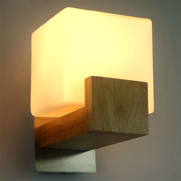 5Cgo【燈藝師】含稅會員有優惠 14427970034 實木現代簡約時尚北歐宜家牆壁燈客廳臥室玻璃創意壁燈床頭燈-單頭