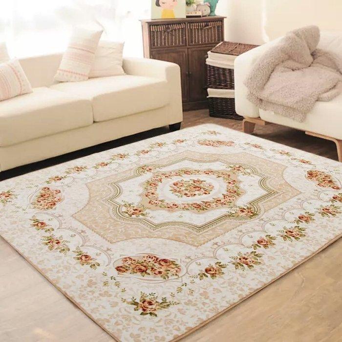 粉紅玫瑰精品屋~田園地毯 歐式地毯 卧室地毯新古典卧室床邊毯~