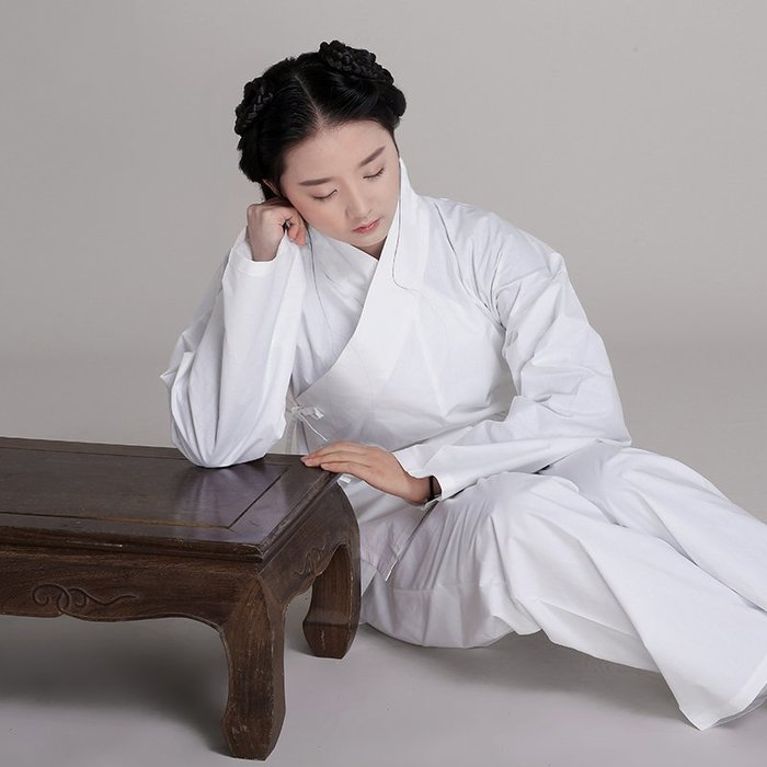原創品牌漢服男女純棉府綢中衣 漢服修禪套裝居家睡衣