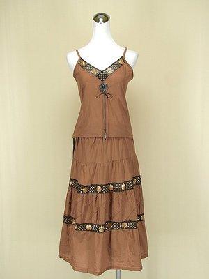 貞新二手衣 駝色印度民俗風V領細肩帶蕾絲棉質洋裝F號(61829)