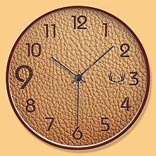 家用個性創意皮革紋理實木鐘表臥新款室靜音掛鐘客廳大氣現代新簡約時鐘N03