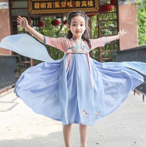 莎芭 小中大童 童裝新款 女童漢服 唐裝襦裙 夏季短袖改良中國風刺繡寶寶連身裙 日常古裝 生日禮物