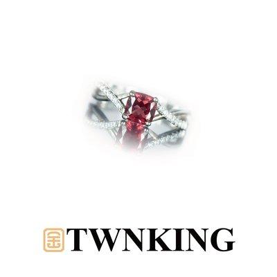 【TWNKING】天然玫瑰榴石 完美切工 天之驕女戒指【臺中906】