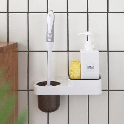 LIOU栗欧~鳳全免打孔粘貼置物架廁所馬桶刷架子浴室壁掛洗漱架墻壁收納架