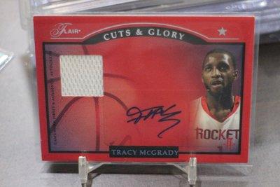 傳奇球星 Tracy Mcgrady 限量20張~2004-05 Flair Cuts Glory 火箭隊球衣簽名卡~