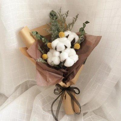 【禮盒裝】進口棉花花束干花手作文藝懷舊生日禮物情人節圣誕