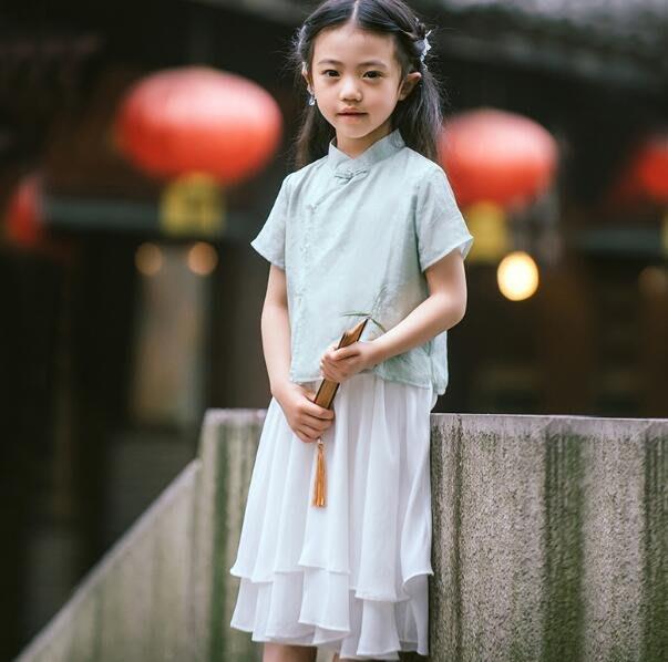 莎芭童裝 漢服 女童夏裝中國風童裝 小女孩襦裙 短袖套裝 寶寶古裝 洋裝 生日禮物 表演出服