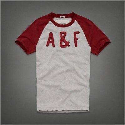 美國AMPM 【現貨 #T15】AF / A&F 男版 MARBLE MOUNTAIN紅灰雙色立體貼布字母短T / M號