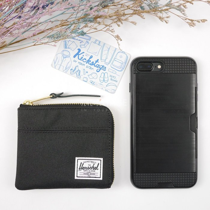 KS▸HERSCHEL JOHNNY 黑色 布面 拼接 零錢袋 錢包 卡片夾 信用卡 皮夾【10414-00001】