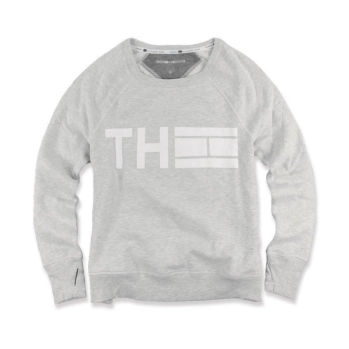 美國百分百【Tommy Hilfiger】T恤 TH 女款 上衣 圓領 T-shirt 長袖 大學T 淺麻灰 I511