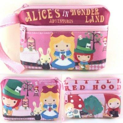 ♥Alice Family♥Taiwan手作防水扁平雙拉鍊手拿零錢包 卡包-愛麗絲魔鏡夢遊 小紅帽款