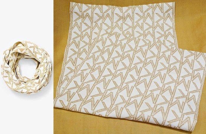 大降價!全新 Michael Kors MK高質感金蔥金色白色 LOGO 設計環狀圍巾!低價起標無底價!本商品免運費!
