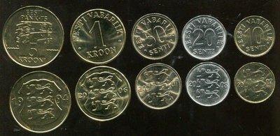 ESTONIA(愛沙尼亞硬幣),5枚合購,1994-2008,品相全新UNC