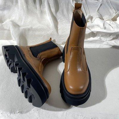 墨染·蓮花府邸歐美切爾西短靴真皮厚底松糕女靴時尚英倫短筒馬丁靴休閒