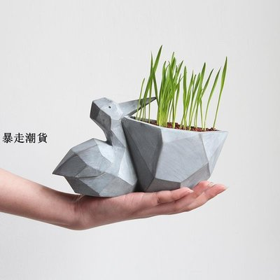 精選 zakka創意幾何動物手工樹脂花盆陽臺多肉肉植物個性微景觀花盆栽