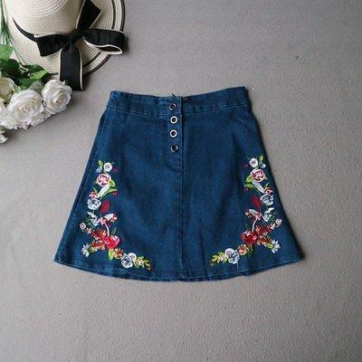 民族繡花刺繡高腰牛仔短裙