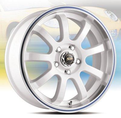 全新鋁圈 wheel P1321 17吋鋁圈 5/100 5/108 5/114.3 白色車邊外滾藍